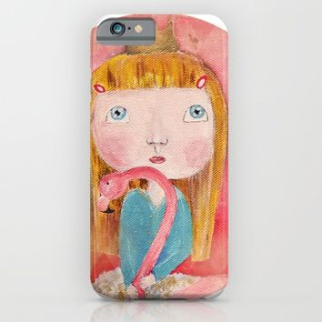 Girl with flamingo iPhone & iPod Case by Natalia Lampropoulou