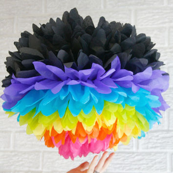 party decoration ... JUMBO neon rainbow ... 1 Tissue paper pom //weddings // nursery // baby shower // birthday party // teen sleepover //
