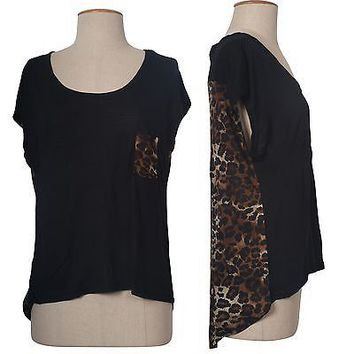 Sexy Animal Leopard Print Asymmetrical Hi-Low Hem Short Sleeve Tunic Shirt Top
