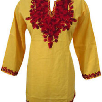 Womans Yellow Kurta Tunic Tops Cotton Red Hand Embroidered Boho Chic Blouse