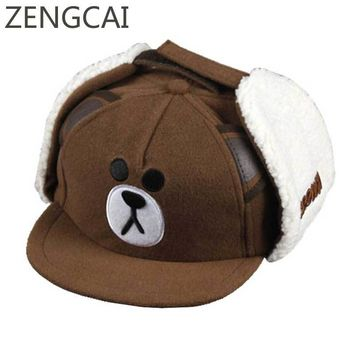 Trendy Winter Jacket Bear Baseball Cap Kids Winter Snapback With Ears Cartoon Earflaps Boys Hat Cute Children Warm Caps Girls Ribbit Embroidery Hats AT_92_12