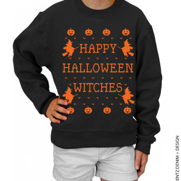 Halloween Shirt - SALE - Happy Halloween Witches - Kids - Black Youth Crew Neck Sweatshirt