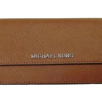 ESBON2D Michael Kors Jet Set Travel Flat Saffiano Leather Wallet Luggage/Cherry