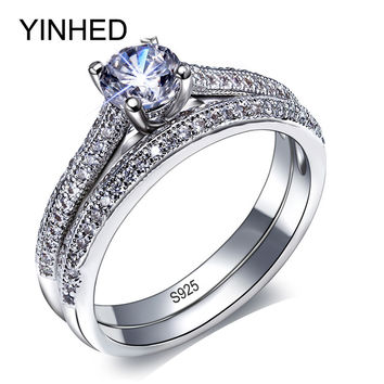 90% OFF ! YINHED Brand Wedding Ring Set Solid 925 Sterling Silver 1CT Zircon CZ Engagement Rings for Women Vintage Jewelry ZR277