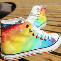 Hand-painted galaxies canvas lovers shoes