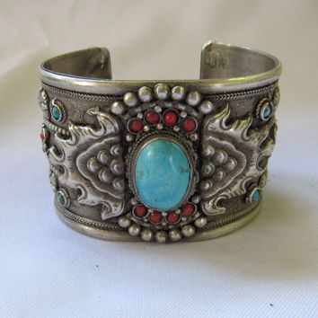 Nepal Hand made Ornate Turquoise Cuff