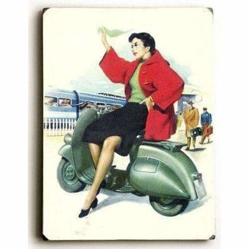 Wood Sign : Italian Vespa Piaggio Girl