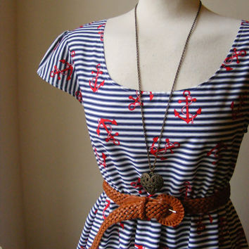 Nautical Anchors Away Stripe Tea Navy Blue White and Red Dress / Handmade / Choose Your Size