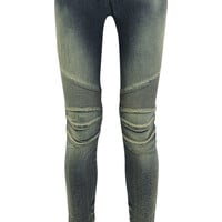 Balmain - Moto-style distressed low-rise skinny jeans