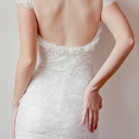 Beautiful low back French lace & silk chiffon wedding dress