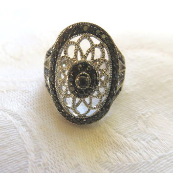 Art Deco Filigree Ring,  Sterling Silver, Marcasite Stones, Size 7.5 Signed JS, Vintage Marcasite Jewelry