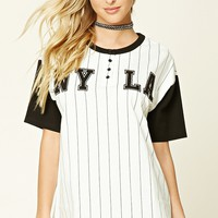 NY LA Striped Baseball Tee - Sale - Sale - 2000233932 - Forever 21 Canada English