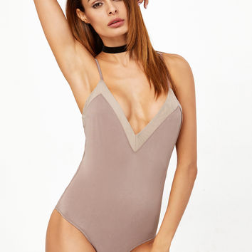 Nude Colorblock Trim Cami Bodysuit