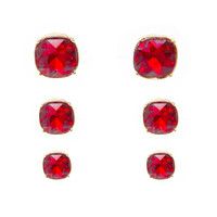 Amore Stud Set Earrings In Red