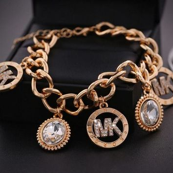 DCCKB62 Hot Sale 'MK' Michael Kors Fashionable High Quality Women Letter Diamond Bracelet+Best Gift