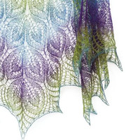 Mother Day gift - Peacock hand knit  lace shawl - purple, blue, green spring
