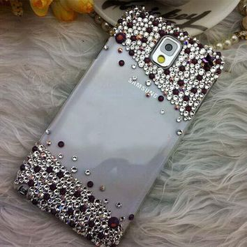 For Mobile Phone Sparkly Colorful Gem Rhinestones Bling Diamonds Hard Cover Case