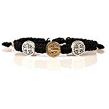 Women or Men's Black Cotton Cord Bracelets with Cross Medals. Prayer Partner Bracelets. The 2 Bracelets Come Displayed on a Card with Their Story and the Reminder of the Power of Prayer. Two Bracelets, One for You and One for Your Prayer Partner.commit Now