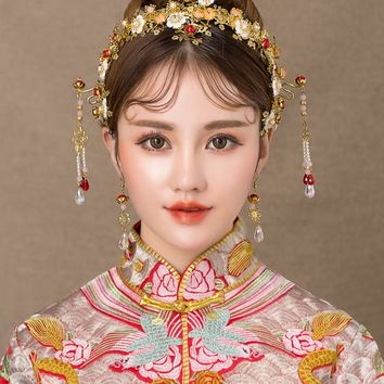 Chinese bride headdress costume Chinese knot hairpin wedding hairwear and earrings photography wedding hair accessories qiaosi