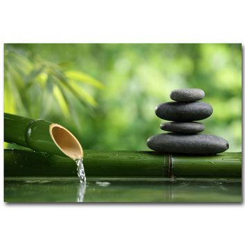 NICOLESHENTING ZEN Stone and Bamboo Meditational Art Silk Fabric Poster Huge Print Buddha Picture Room Wall Decoration