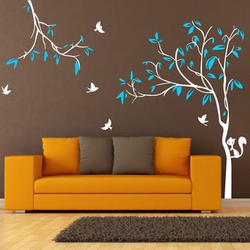 Giant 2.2X2.9M  Tree Birds Squirrel Nursery Wall Stickers Removable wall  Decal for  Kids Baby room  ES-15