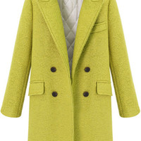 Yellow Lapel Long Sleeve Buttons Woolen Coat - Sheinside.com