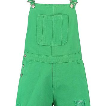 Green Denim Dungaree Short | Boohoo