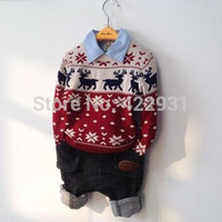 Hot sale, 1-5yrs children kids boys Sweaters coat Autumn winter Fashion Pullovers knit, kids clothing wool bilayer elk sweater