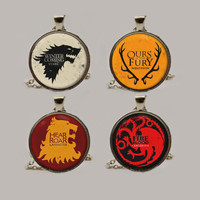 Game of Thrones House Pendant Necklace or Keychain