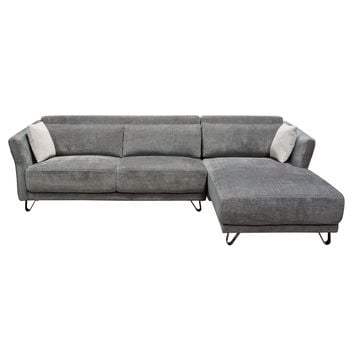 Naomi RF Sectional in Grey Fabric with Metal Leg