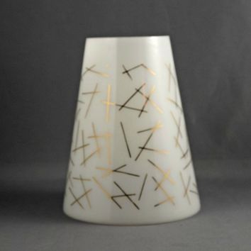 Mid Century MCM White Glass Cone Shade with Gold Abstract Atomic Design SHADE ONLY