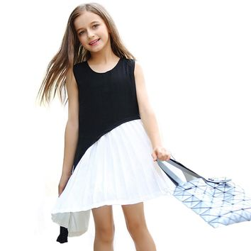 Summer Teenager Girls Bohemian Style Dresses Children Casual Vest Dress Big Girl Patchwork Costume Girls Holiday Lovely Clothes