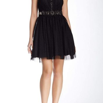 Adrianna Papell - 41897120 Embellished Illusion Scoop A-line Dress