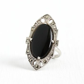 Onyx Marcasite Ring - Vintage Art Deco Sterling Silver Black Statement Ring - Size 5 1930s Oval Navette Shield Cocktail Ring Jewelry