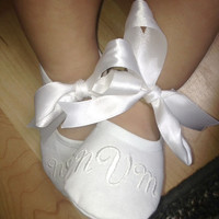 Wedding Shoes - Baby Baptism Shoes - Monogrammed White Booties - Baby Shoe Christening - Newborn to 14 months sizes