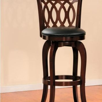 Wooden Pub Chair With Padded Upholstery In Cherry Brown