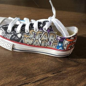 Custom starwars converse sneakers! Your child will LOVE these Star Wars converse that include darth vader, BB8, R2D2, light sabors and more!