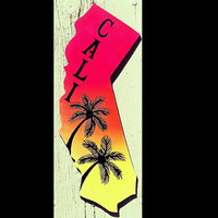 California Signs, ombrae Art, Palm Tree Silhouette, Hand Painted Art, Cali State Shaped Sign With Palm Trees, Cali Art,  Palm Tree Art