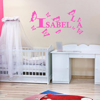 Wall decal decor decals sticker art vnyl personalized name monogram lettering sign nursery kids Isabella bedroom living room (m1211)