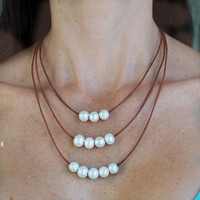 Leather and Pearls Layered Necklace Handmade Light Brown Genuine Leather Freshwater Pearls Boho Chic Womens Jewelry Layered Necklace