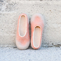 Coral peach salmon beige wool slippers felted slippers home shoes