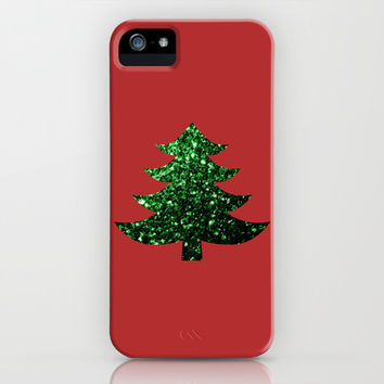 Christmas tree green sparkles iPhone & iPod Case by PLdesign | Society6