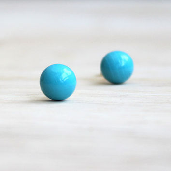 bright light blue wooden earring studs // tiny wood post button earrings gold, turquoise - everyday jewelry, pastel stud earrings