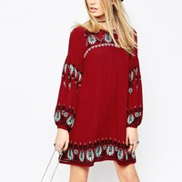 ASOS PREMIUM Embroidered Swing Dress at asos.com