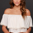 White Off-the-Shoulder Lace Panel Crop Top