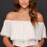 White Off-the-Shoulder Lace Panel Crop Top (Out of Stock)