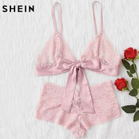 Women Sleepwear Sexy Lingerie Pink Bow Tie Front Lace and Pantie Lingerie Set Nightwear Women's Pajamas