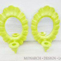 Bright & Fun Lime Green Vintage Mirrored Candle Sconces