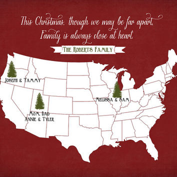 Christmas Gift for Family, Long Distance Holiday - 8x10 Personalized Map, Pine Trees, Christmas Trees, Red and Green, Rustic, Cabin Decor