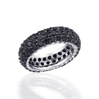 Bling Jewelry Sterling Silver Pave Black CZ Eternity Band Ring - Size 5